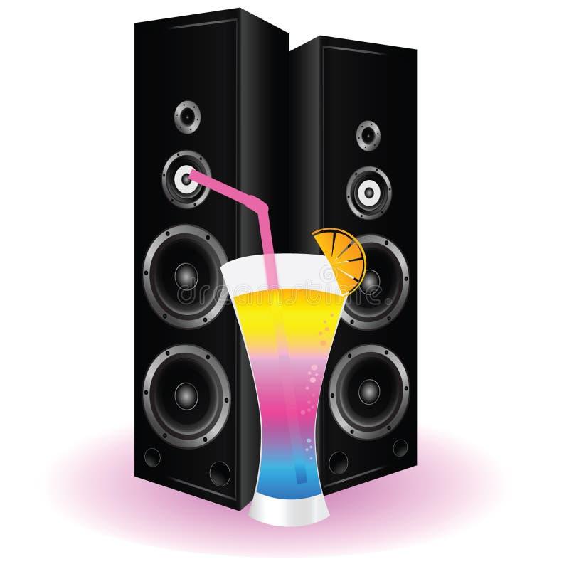 Cocktail- und Sprecherkunstillustration stock abbildung