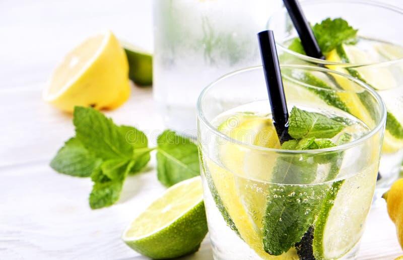 Cocktail van de zomer goot de gezonde niet maagdelijke mojito, citrusvrucht waterdranken, limonades met kalkcitroen of sinaasappe royalty-vrije stock foto