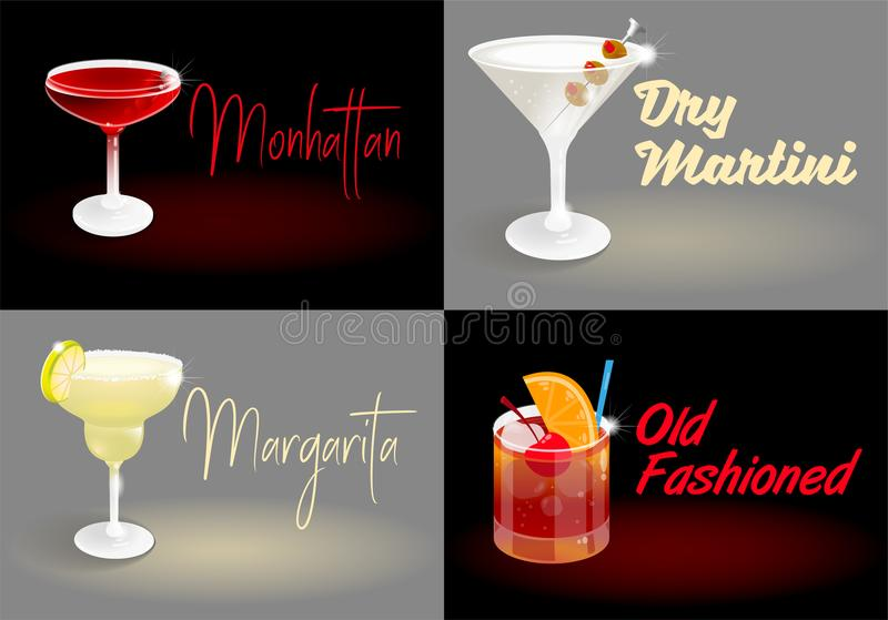 Cocktail vastgestelde affiches stock illustratie