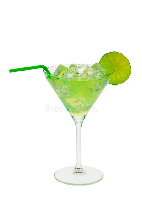 Cocktail vert avec la limette image stock
