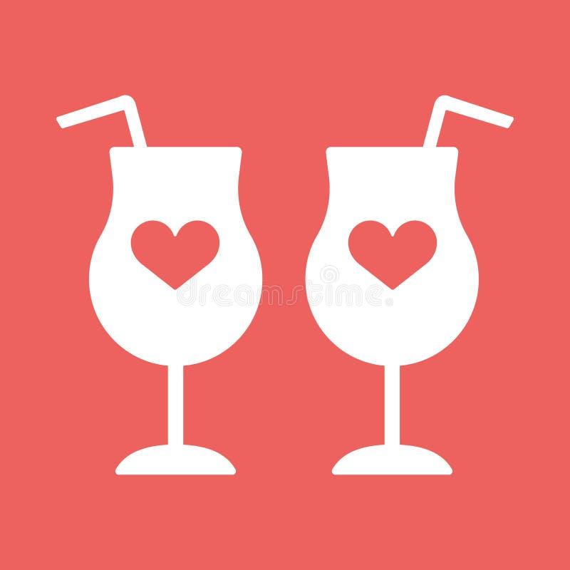 Cocktail, vin, coeurs en verre de champagne illustration libre de droits