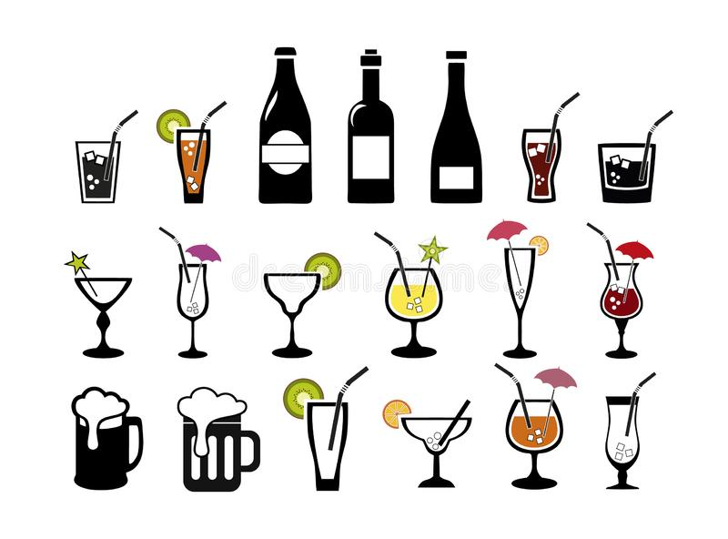 cocktail Wein Bier Alkoholiker und alkoholfreie Getränke Ikonen eingestellt vektor abbildung