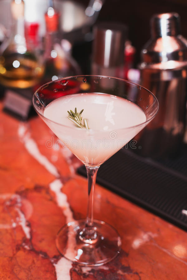 cocktail, white sambuca, tequila, gin, ice, rosemary syrup, vanilla, cool, refreshing drink bar royalty free stock images