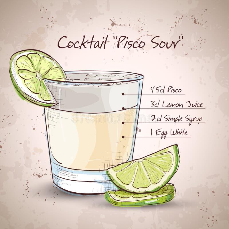 Cocktail zure Pisco vector illustratie
