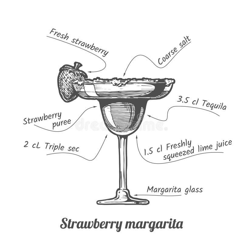 Cocktailaardbei Margarita vector illustratie