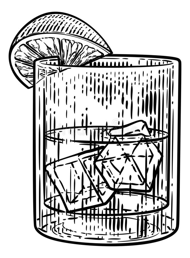 Cocktaildrank in Glas met Ijs en Citroen of Kalk stock illustratie