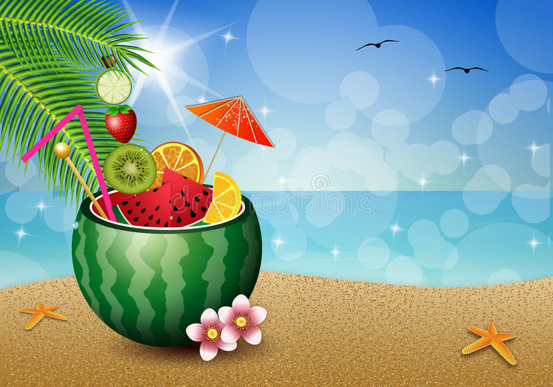Cocktailfrüchte in der Wassermelone vektor abbildung