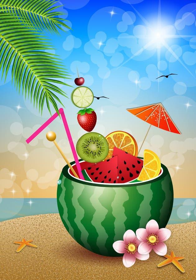 Cocktailfrüchte in der Wassermelone lizenzfreie abbildung