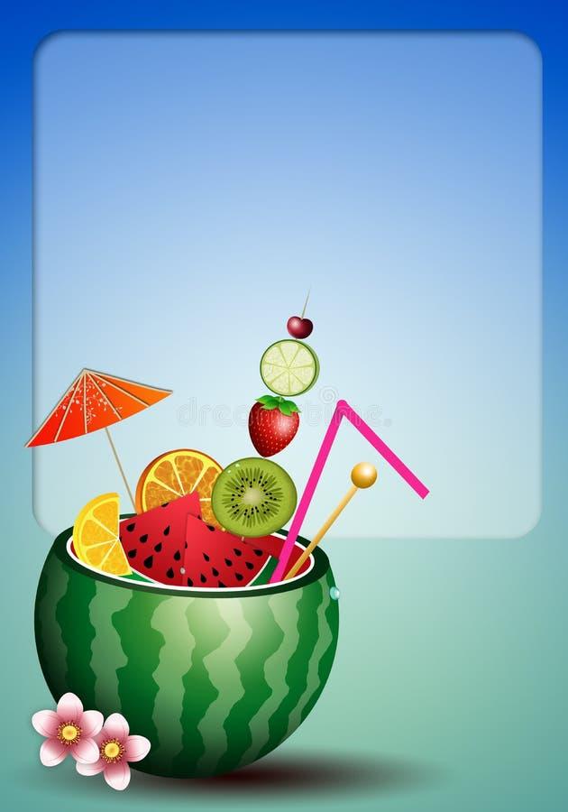 Cocktailfrüchte in der Wassermelone stock abbildung