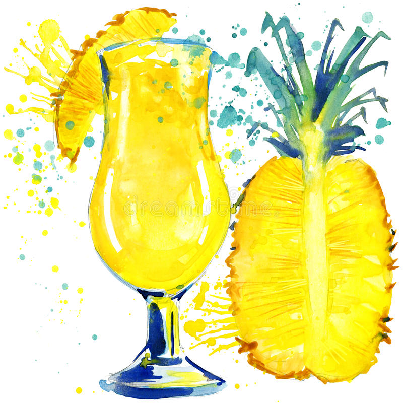 Cocktailfruit, ijs en een plons Hand getrokken waterverfillustratie royalty-vrije illustratie
