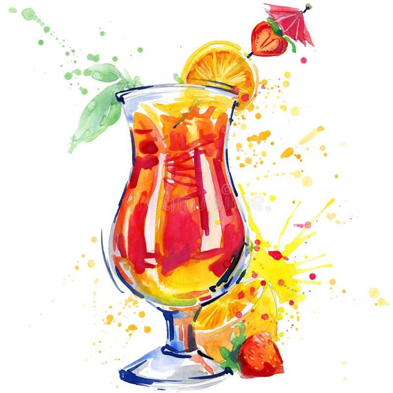 Cocktailfruit, ijs en een plons Hand getrokken waterverfillustratie vector illustratie