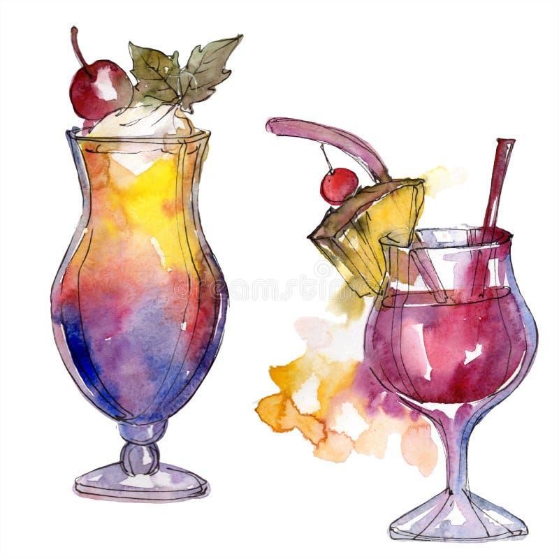 Cocktailgetränk Aquarellhintergrund-Illustrationssatz Lokalisierte zeichnendes Modeaquarell des Watercolour vektor abbildung