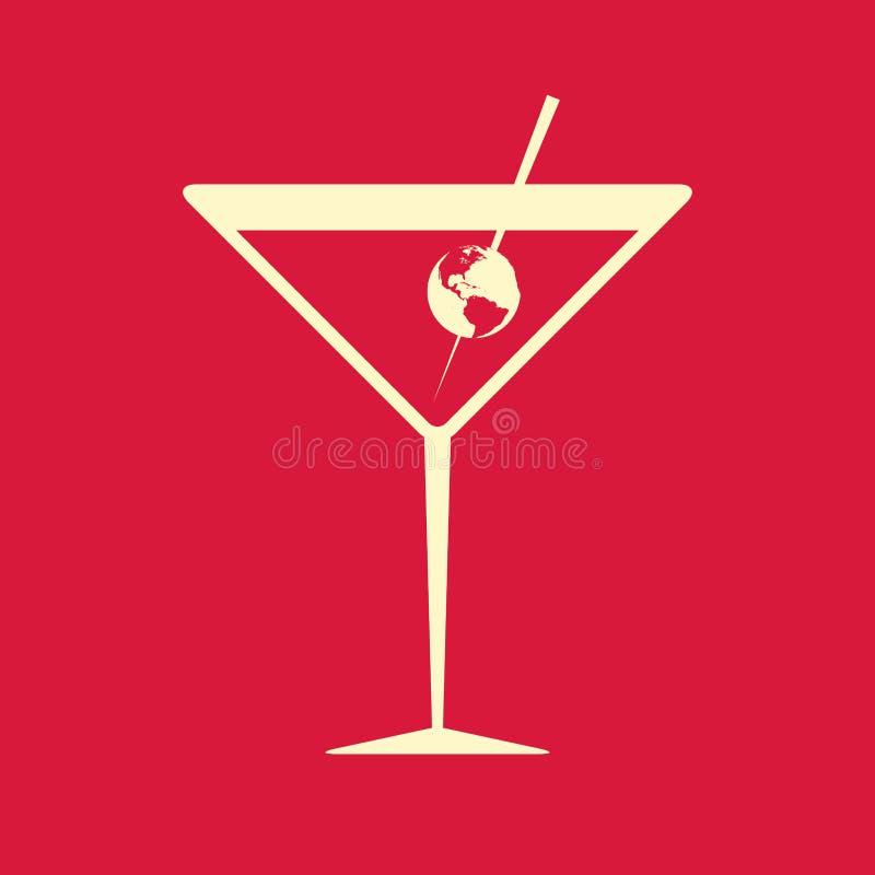Cocktailglas met de Aarde, op rood wordt versierd dat royalty-vrije illustratie