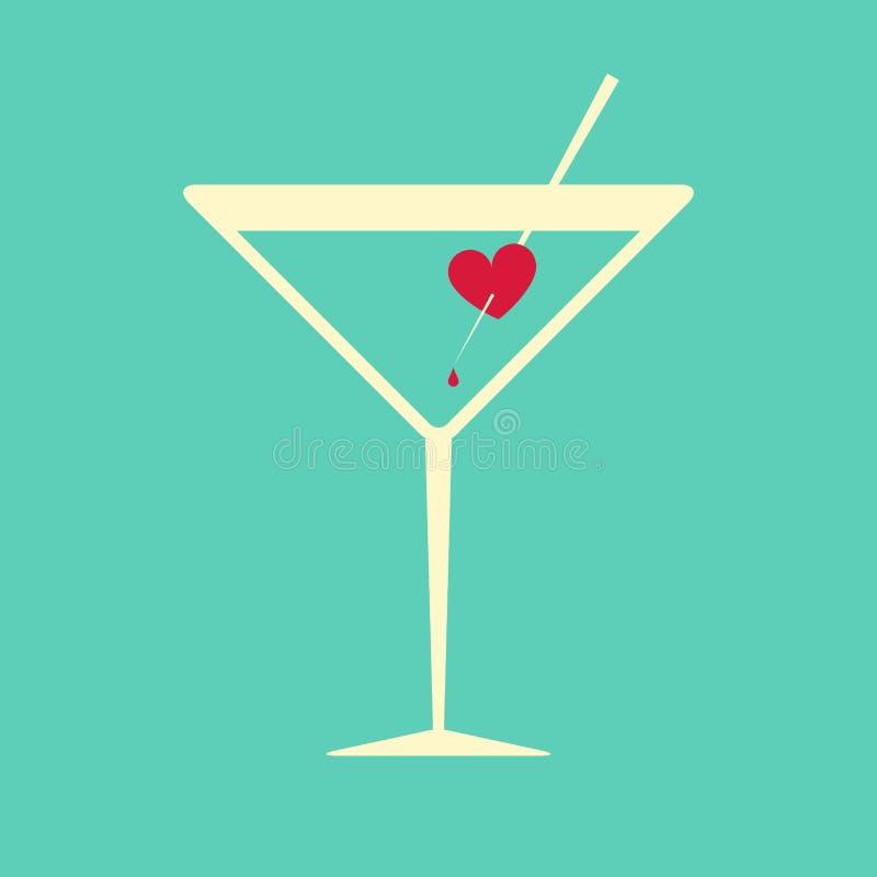 Cocktailglas met een aftappend hart wordt versierd dat stock illustratie