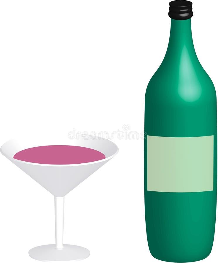 Cocktailglass com a garrafa verde em 3D fotografia de stock