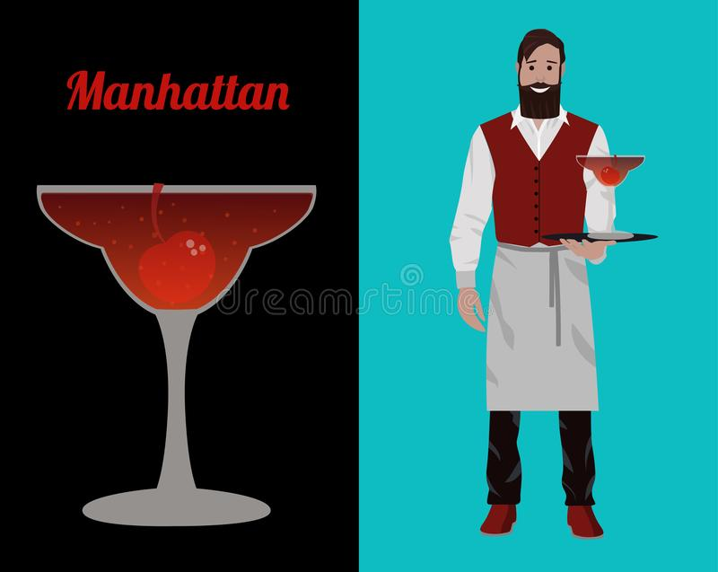 Cocktailkellner lizenzfreie abbildung