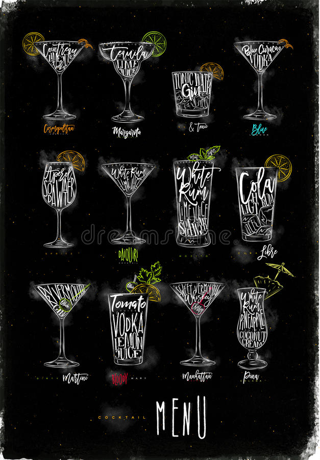 Cocktailmenü-Farbgrafikkreide stock abbildung
