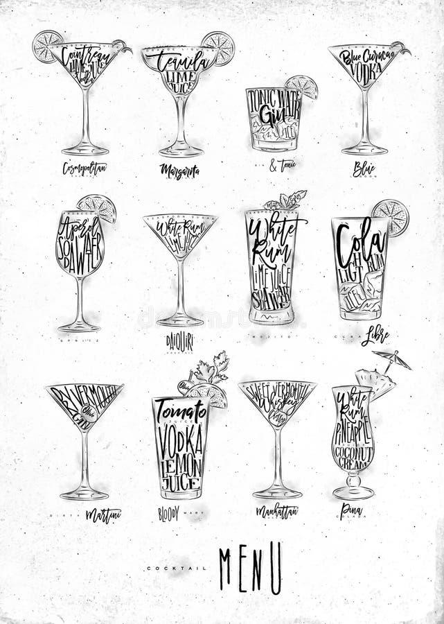 Cocktailmenügraphik lizenzfreie abbildung
