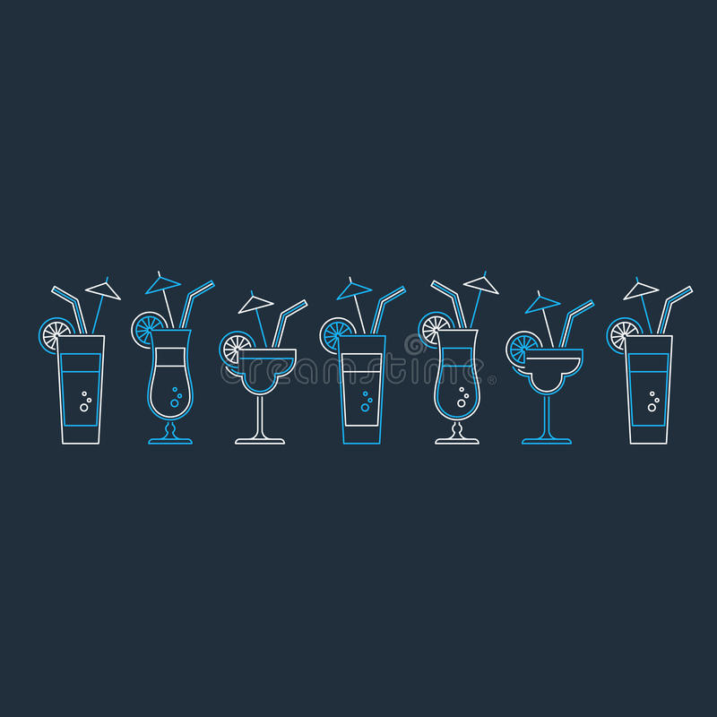 Cocktailparty, Alkoholgetränke stock abbildung