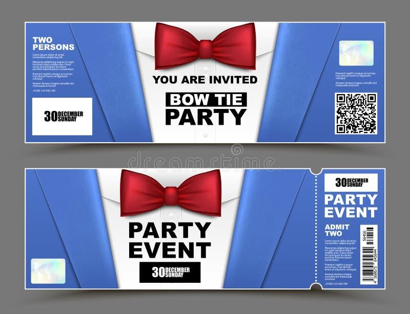 Cocktailparty-Ereigniseinladungen des Vektors horizontale Roter lokalisierte Geschäftsmannfahnen der Fliege Beamter Elegante Part lizenzfreie abbildung
