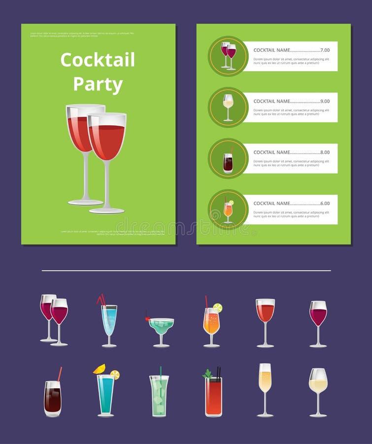 Cocktailparty-Menü-Listen-Cocktail-Preis-Bestandteil vektor abbildung