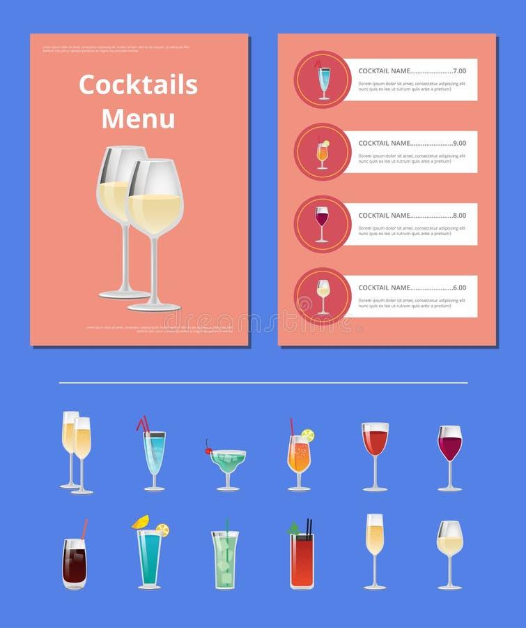 Cocktailparty-Menü-Listen-Cocktail-Preis-Bestandteil lizenzfreie abbildung