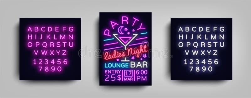 Cocktailpartyaffischneon Reklambladmalldesign i neonstil Inbjudningar för dans för damnattcocktailparty, ljus stock illustrationer