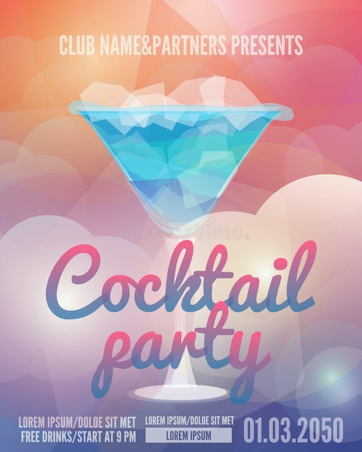Cocktailpartyreklamblad stock illustrationer