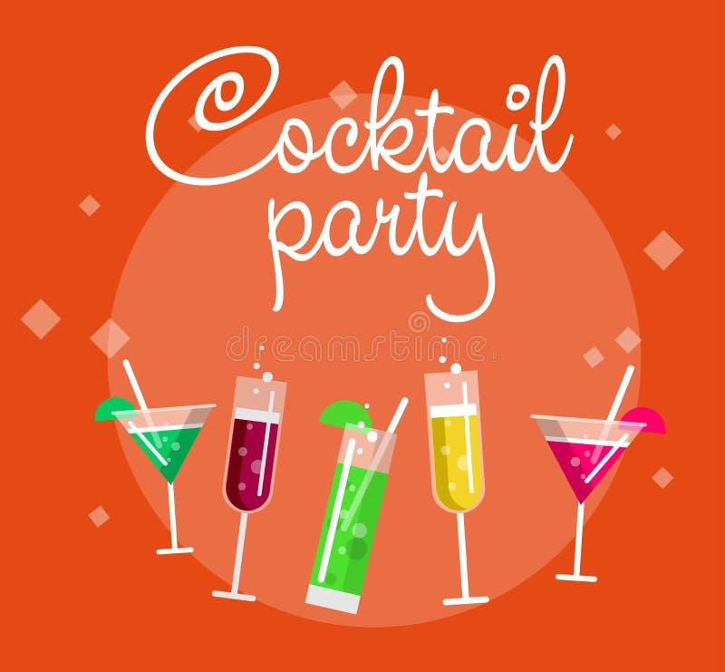 Cocktailpartysommaraffischen med alkohol dricker i exponeringsglas på blå bakgrundsvektorillustration vektor illustrationer
