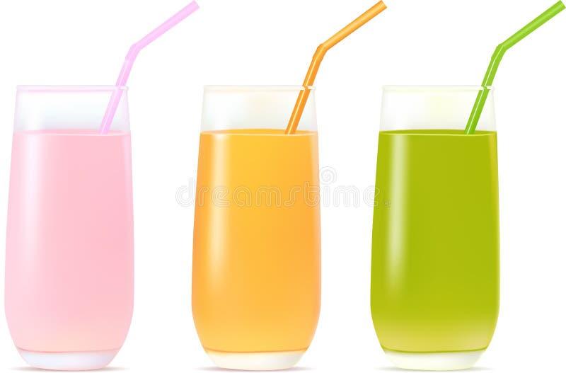 Cocktails. Three juice cocktails with strawberry, orange and kiwi taste vector illustration