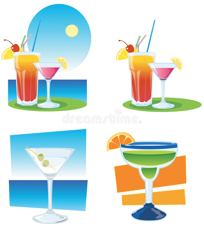 Cocktails. Images of cocktails on sea background stock illustration