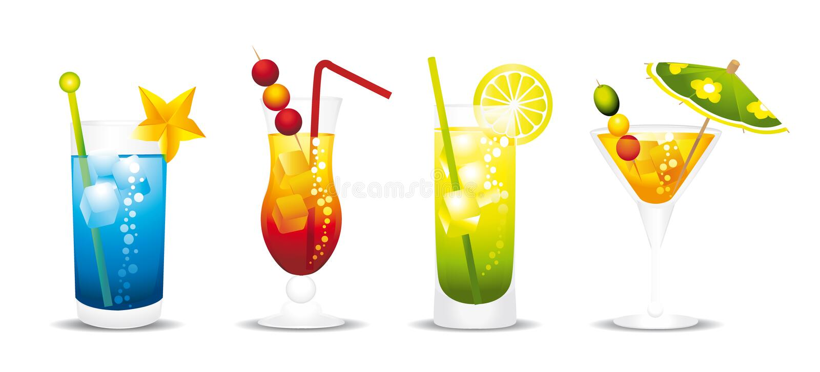 Cocktails. Four colorful cocktails vector and isolated vector illustration