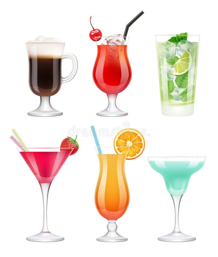 cocktails alcooliques Les verres avec les fruits tropicaux de boissons ont décoré le vecteur bleu de martini de vodka de margarit illustration stock