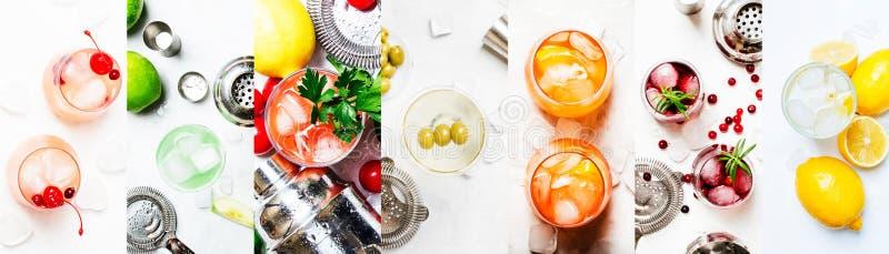 cocktails alcooliques Vue supérieure, configuration plate Fond clair Lame de la photo collage photos libres de droits