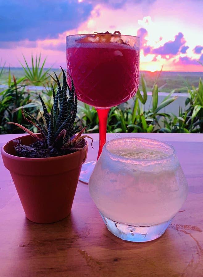 Cocktails au coucher du soleil photo libre de droits