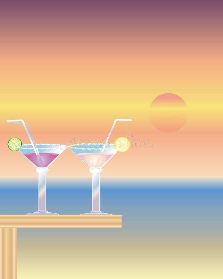 Cocktails au crépuscule illustration stock