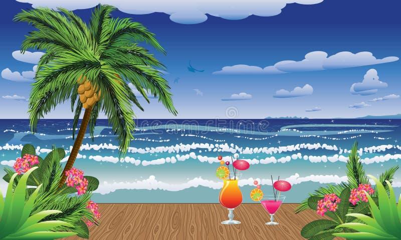 Cocktails auf Anlegestelle lizenzfreie abbildung