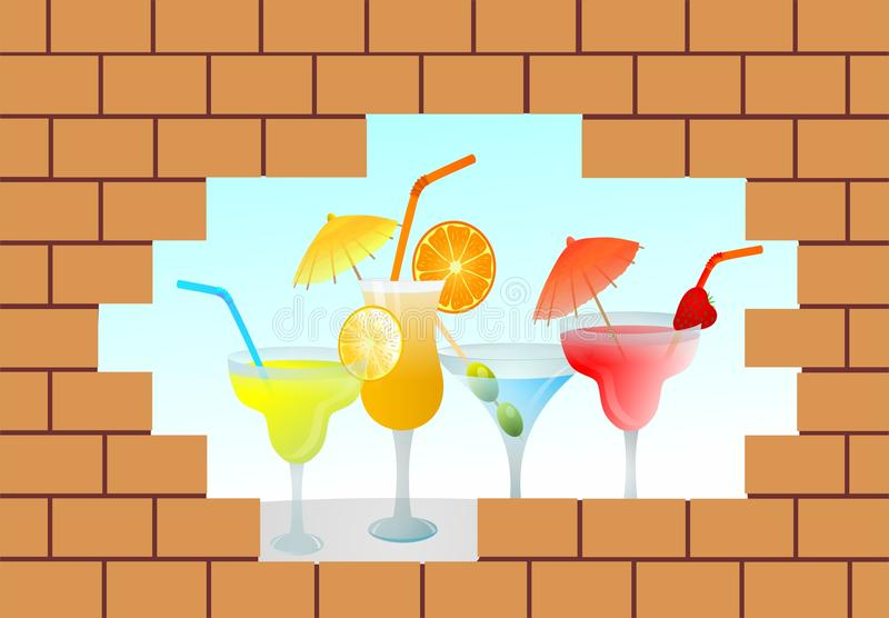 Cocktails behind wall. Vector illustration of summer cocktails behind a broken wall vector illustration