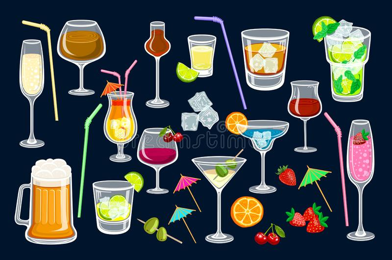 Cocktails on black background. Vector illustration for web and print, party invitation or menu decoration, strawberry and stock illustration