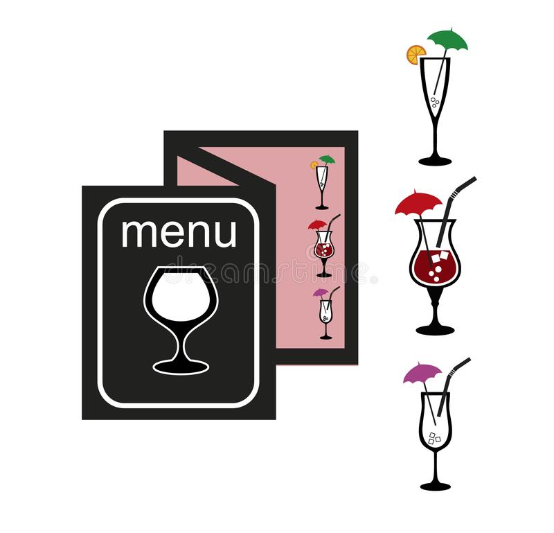 cocktails carte Graphismes réglés Illustration courante de vecteur illustration stock