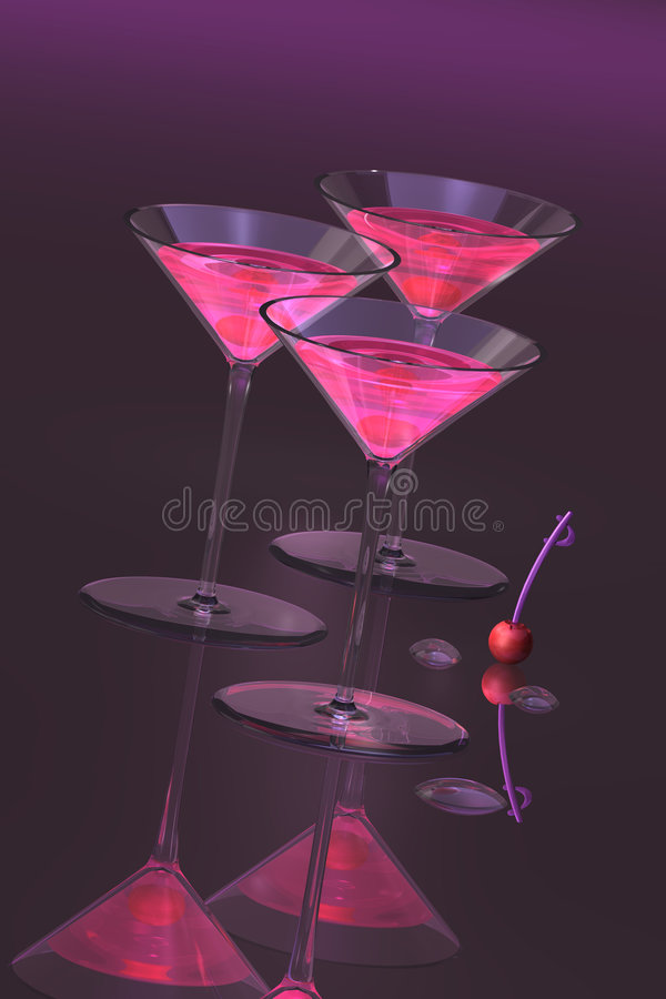 Cocktails With Cherries. On pink and purple color theme. Three martini glasses stand on reflective surface with subtle lighting effects. A spare cherry with royalty free illustration