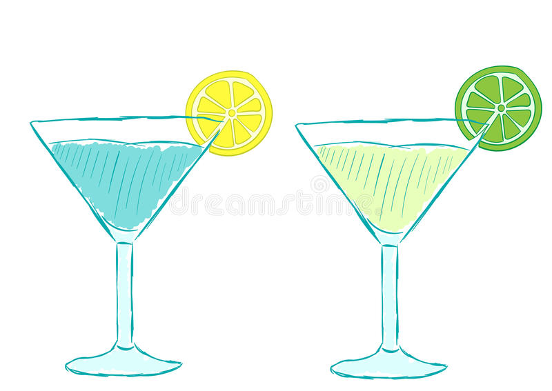 Cocktails with citruses. Two cocktails with a lemon and a lime on a glass royalty free illustration