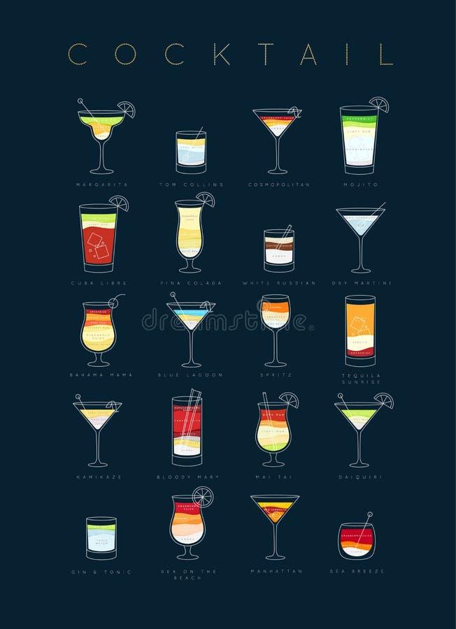 Cocktails d'affiche à plat bleu-foncé illustration stock