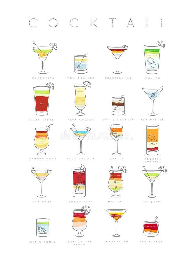 Cocktails d'affiche plats illustration de vecteur