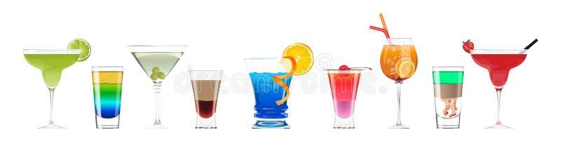 Cocktails d'alcool réglés illustration stock