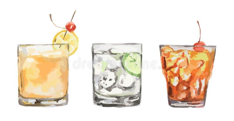 Cocktails d'aquarelle réglés illustration stock