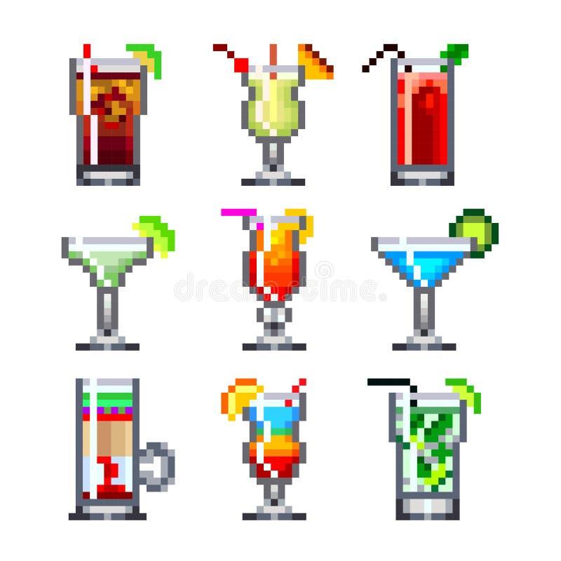 Cocktails de pixel pour l'ensemble de vecteur d'icônes de jeux illustration de vecteur