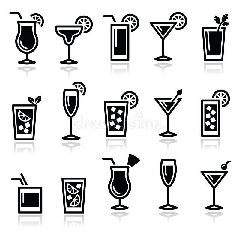 Cocktails, de vector geplaatste pictogrammen van drankenglazen royalty-vrije illustratie