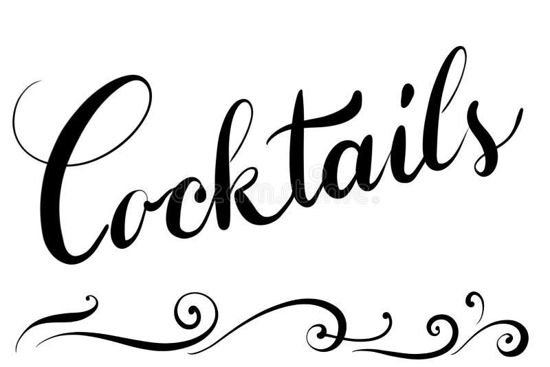 Cocktails des textes de Handlettered pour la carte de menu dans les restaurants illustration de vecteur