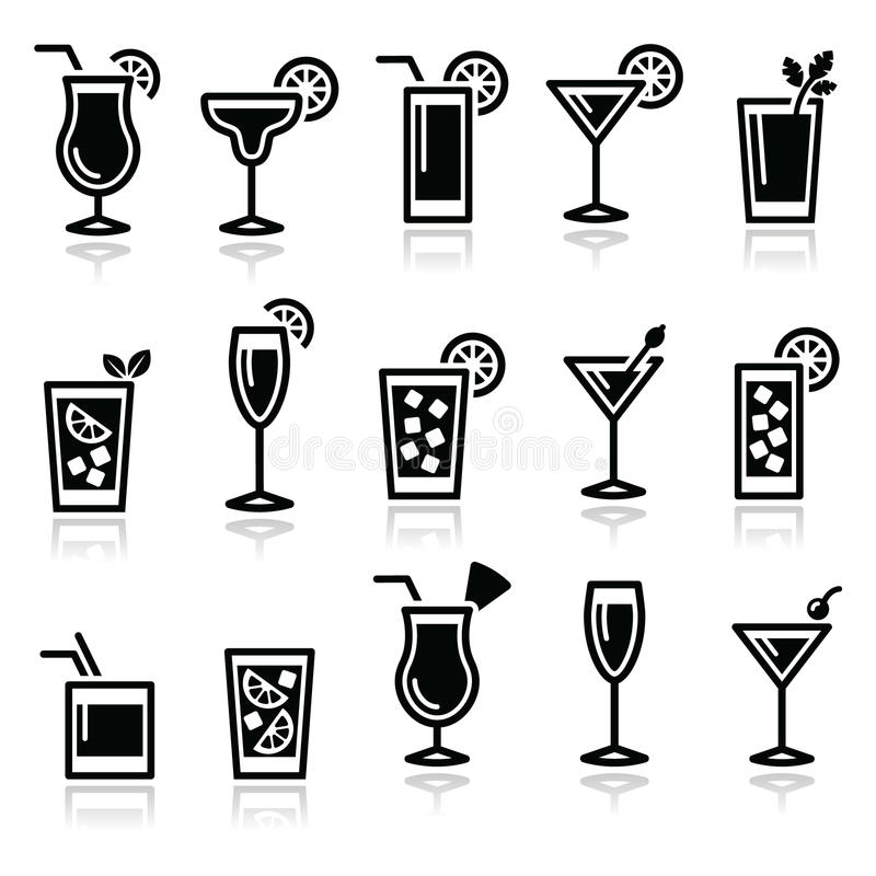 Cocktails, drinks glasses vector icons set royalty free illustration